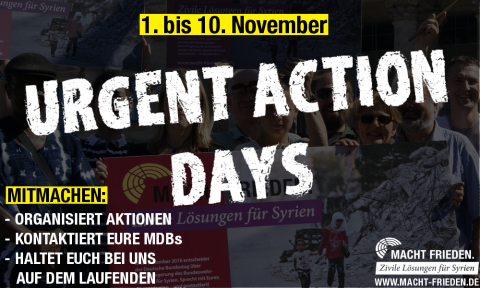 Urgent Action Days vom 1. bis 10. November